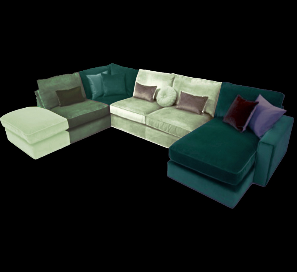Harlequin 5 seater corner sofa suite chaise longue beds for Chaise corner sofa
