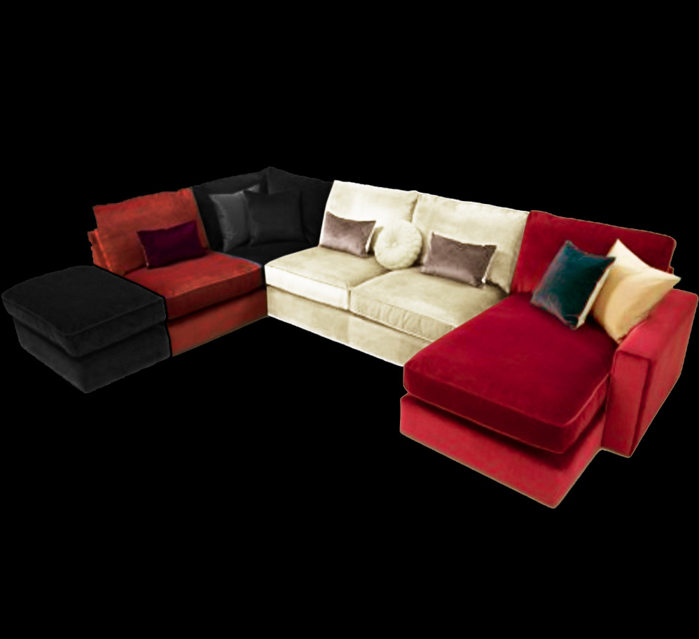 Harlequin 5 seater corner sofa suite chaise longue beds for Chaise lounge corner sofa