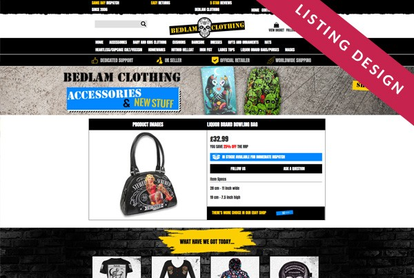 Bedlam Clothing eBay Listing Template